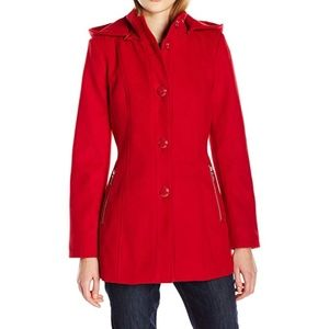 Kensie Women's Button Up Jacket with Knit Collar